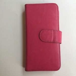 PINK FAUX LEATHER TRI FOLD PHONE CASE